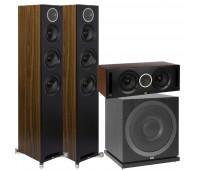 ELAC 7.1 Channel Home Theater System Bundle With Debut Reference DFR52 - Pair - Black/Walnut + DCR52-BK + 4 DBR62 Bookshelf/Surrounds + ELAC Subwoofer SUB3010