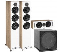 ELAC Debut Reference DFR52 Floorstanding Speaker - Pair - White 3.1 Channel Home Theater System Bundle With DCR52-BK and ELAC Subwoofer SUB3030