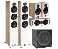 ELAC 5.1 Channel Debut Reference DFR52 Floorstanding Speaker System - White/Oak 5.1 with DCR52-BK + DBR62-BK Pair and ELAC Subwoofer SUB3010