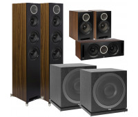 ELAC Debut Reference 5.2 Channel Home Theater System Bundle with DFR52 Floorstanding Speakers - Pair - Black/Walnut + DCR52-BK + DBR62-BK and 2 ELAC Subwoofer SUB3010