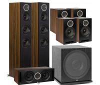ELAC Debut Reference DFR52 Floorstanding Speaker - Pair - Black/Walnut 7.1 Channel Home Theater System Bundle With DCR52-BK + 4 DBR62 Bookshelf/Surrounds + ELAC Subwoofer SUB3030