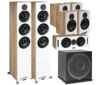 ELAC 7.1 Channel Home Theater System Bundle With Debut Reference DFR52 - Pair - White/Oak + DCR52-BK + 4 DBR62 Bookshelf/Surrounds + ELAC Subwoofer SUB3010