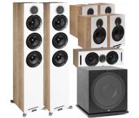 ELAC Debut Reference DFR52 Floorstanding Speaker - Pair - White/Oak 7.1 Channel Home Theater System Bundle With DCR52-BK + 4 DBR62 Bookshelf/Surrounds + ELAC Subwoofer SUB3030