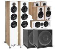 ELAC Debut Reference DFR52 Floorstanding Speaker - Pair - White/Oak 7.2 Channel Home Theater Bundle With DCR52 + 4 DBR62 Bookshelf/Surrounds + 2 ELAC Subwoofer SUB3010